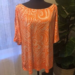 Susan Graver Orange Paisley Cold Shoulder Too